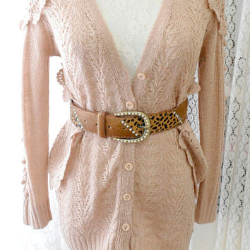 Vintage Pale Baby Pink Crocheting Sweater Cardigan  in great condition