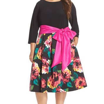 Plus Size Women's Eliza J Sash Tie Tea Length Jersey & Faille Dress,