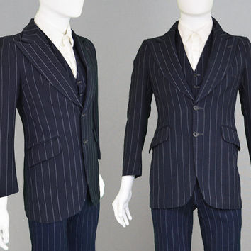 Vintage 60s 70s TAKE 6 Mens 3 Piece Suit Mod Carnaby Steet Navy Blue Pinstripe Suit XS Suit 1960s Blazer Mens X Small Flared Pants Trouser