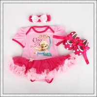 Pink Elsa Tutu Romper Outfit Set with Matching Headband and Crib Shoes