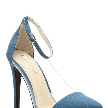 Denim Pointed Toe Ankle Strap Vinyl Contrast Heels @ Cicihot Heel Shoes online store sales:Stiletto Heel Shoes,High Heel Pumps,Womens High Heel Shoes,Prom Shoes,Summer Shoes,Spring Shoes,Spool Heel,Womens Dress Shoes