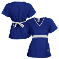 Kansas City Royals Womens MLB Solid Wrap Scrub Top with Pockets - Royal Blue/White