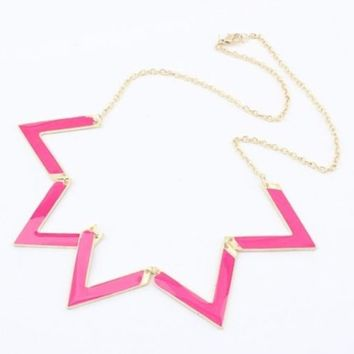New Hot Pink Triangle Statment Necklace Independent Designer one size by Alisha's Fashion