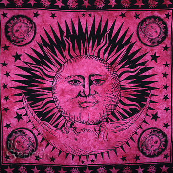 Sun Tapestry, Sun Moon Hippie Tapestry, Indian Bedspread Throw Hippie Wall Hanging, Bohemian Boho Cotton Coverlet, Queen Ethnic Decor Art