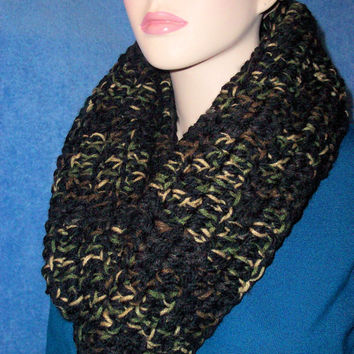 Black Camouflage Crochet Infinity Scarf Black With Trendy Camo Colors Chunky Handmade Eternity Circle Loop Scarf