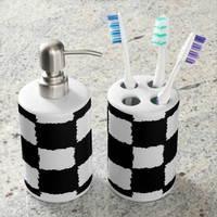 Black and White Checkered Splatter Effect Bath Set