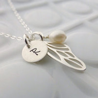 Personalized Necklace - - Sterling Silver Tiny Charm - - Butterfly Wing - - Your choice of gem