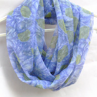 Green Blue Infinity Scarf. Circle scarf. Loop Scarf. Women Accessories.