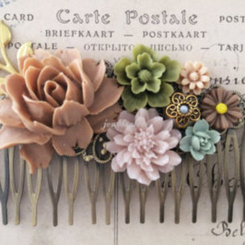 Wedding Hair Comb Turquoise Teal Green Bridal Flower Comb Floral Head Piece Aqua Bridesmaid Gift Hair Pin For Brides Ivory Cream Spring