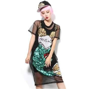 Women Dresses Girl sequin mermaid paillette grid translucent one piece dress Perspectivity guaze black fish Vestidos LT312S50