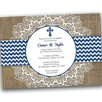 Navy Chevron and Lace Baptism Invitation Boy - Christening Invitation - Rustic Country Spanish - Blue - Boys - Invites - Invitations - fast