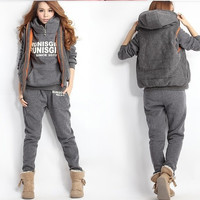 Autumn and Winter Women Tracksuits Sport Suits Wear Casual Set fleece Thickening Hooded Sweatshirt Three Piece Set