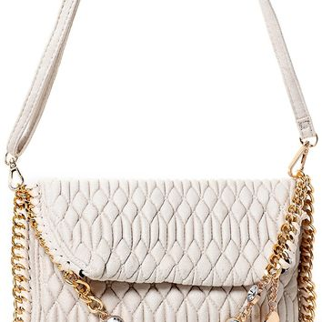 Embellished Quilted Shoulder Bag in Cream