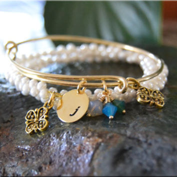 Personalized Birthstone Bangle bracelet, Initial Bangle, Mother's Jewelry, stacking bangle, adjustable bangle, Gift for Mom, Mother's Day