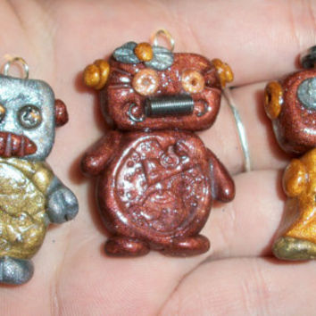 OOAK Robot Polymer clay Charms Hand Made by by moonknightjewels