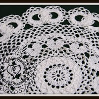 Wedding Lace Doily with Hearts and Joined Wedding Rings