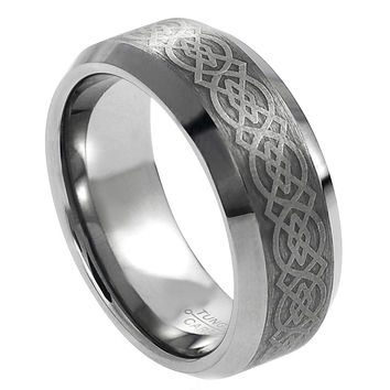 Tungsten Carbide Laser Engraved Wicca Celtic Pattern Ring 8MM