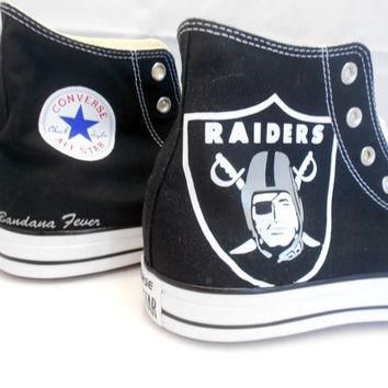 "Converse Hi Black ""Oakland Raiders"" + FREE SHIPPING - by Bandana Fever"