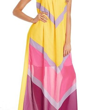 Yellow Chevron Color Block Halter Neck Maxi Dress