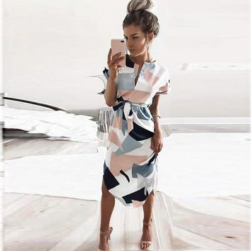 Style Summer Dress Casual Asymmetrical Geometric Printing Short Sash Knee-length Dress O-neck Elegant Women Dresses designer clothes