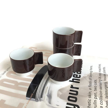 Richard Ginori Demitasse Alitalia Airline by Joe Colombo & Ambrogio Pozzi, 1970 Set of Four, Rare Alitalia Espresso Cups Airline Collectible