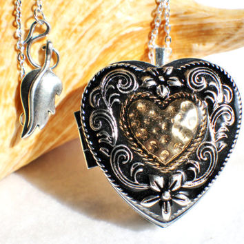 Shop music box locket on wanelo music box locket heart shaped locket with music box inside in silver tone with aloadofball Image collections
