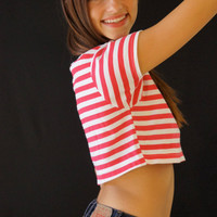 90's Babe Pink Striped Crop Top- Brand New