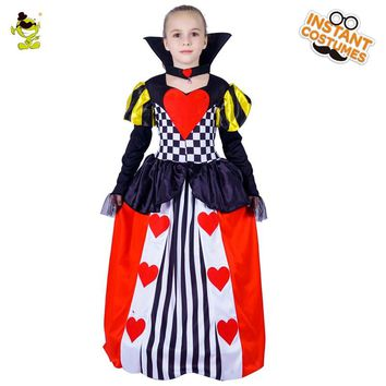 Girls Queen Of Heart Princess Costume Child Carnival Fantasia Fancy Dress Kids Halloween Cosplay Gril Queen Dress
