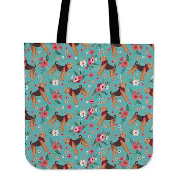 Airedale Terrier Flower Linen Tote Bag - Promo