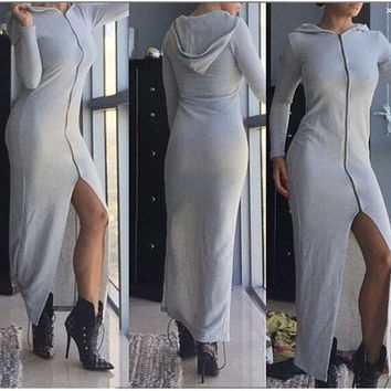 Autumn Ladies Hats Hoodies Prom Dress Casual Zippers Long Sleeve One Piece Dress [6339036033]