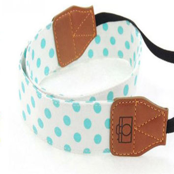 White with Blue Polka Dots Camera Strap Photographers Gift - CAST31