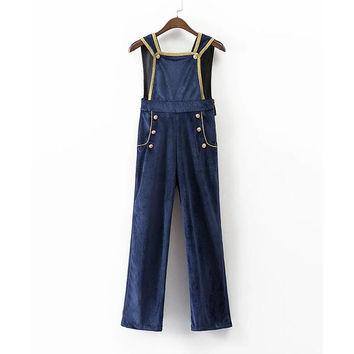 Navy Constrast Trim Pockets Overall Jumpsuit