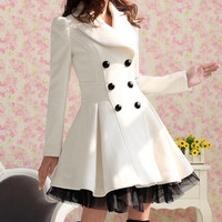 2014 Women Double-Breasted White Woolen Dress Coat (S/M/L/XL/XXL) = 1930535492