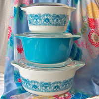 Vintage Pyrex Blue Horizon Baking Dish Set