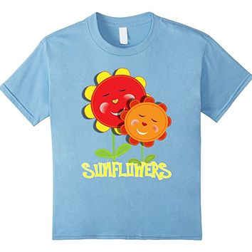 Kids Happy Smiley Sun Flower Faces Whimsical T-Shirts