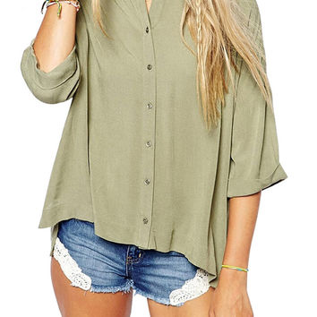 3/4 Sleeve High-low Blouse