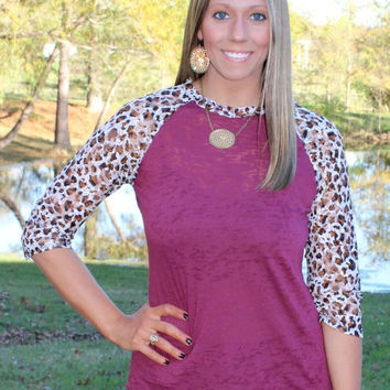 Lace Get Together Maroon Burnout Baseball Tee with Cheetah Lace Sleeves