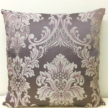 Pink Pillow Cover, Satin Jacquard Pillow, Pink Pillows, Lilac Pillow, Decorative Pillows, Throw Pillows, Pink Lilac Couch Sofa Pillow Covers