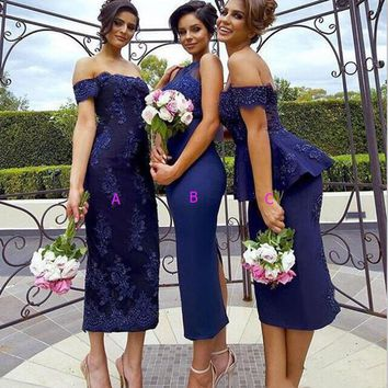 Elegant 2017 Dark Navy Blue Bridesmaid Dresses Lace Peplum Sexy Tea Length Sheath Formal Party Gown Robe Demoiselle D'honneur