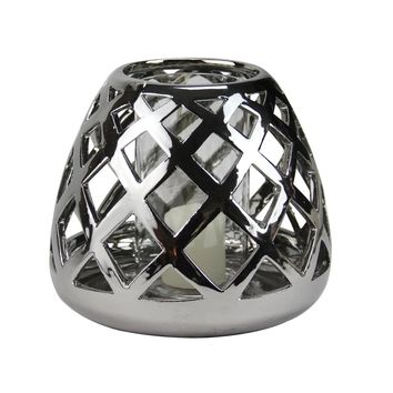 """7"""" Beach Day Shiny Silver Diamond Cut-Out Tea Light or Votive Candle Holder"""