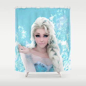 Frozen Illustration Shower Curtain by Maioriz Home