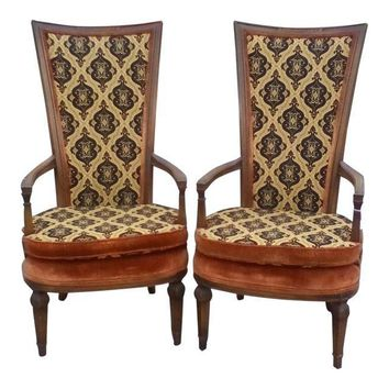 Mid-Century Statesville Chair Company Parlor High Back Chairs - A Pair