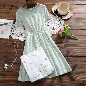 Robe Femme 2018 Summer Women Fashion Literature Short Sleeve V-neck Cotton Linen Floral Printed Dress Vintage Vestidos Mori Girl