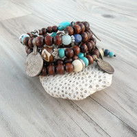 Wood and Vintage Gypsy Metalwork Bracelet - Memory Wire Coil Bracelet, Turquoise and Blue