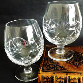 2 Brandy Goblets Vintage Cut Crystal Pair Cognac Balloons, Brandy Glass Snifter, Stemware, Barware, Man Gift, Christmas Stocking Stuffer