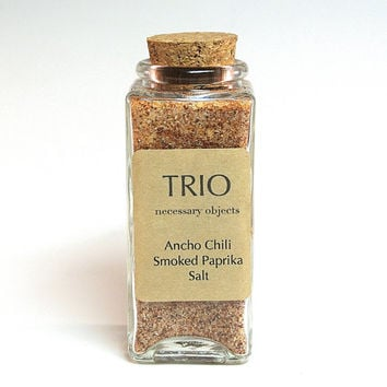 Ancho Chili Smoked Paprika Salt- Flavored Sea Salt Blend in Square Glass Bottle, Gourmet Seasoning