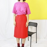 70s Red A Line Skirt / Minimalist Simple Skirt / Large or 29 Inch Waist