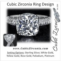 Cubic Zirconia Engagement Ring- The Wende (Cushion Cut with Pave Band and Prong Accents)