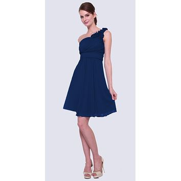 Navy Blue One Shoulder Chiffon Knee Length Bridesmaid Dress