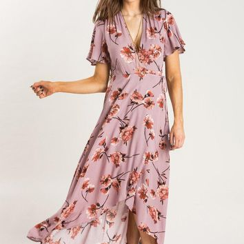 Katherine Mauve Floral Wrap Dress